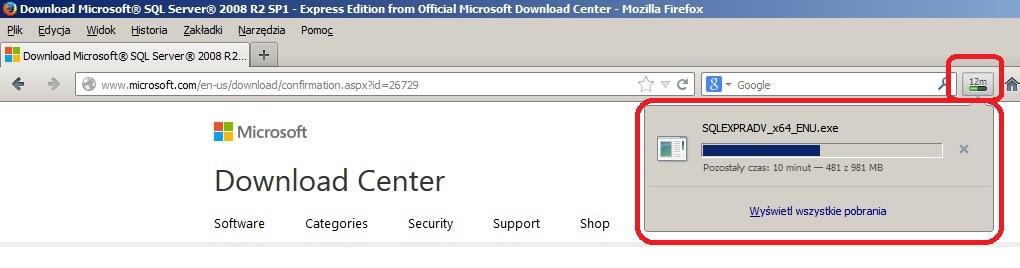Obrazek 5. Proces ściągania pliku instalacyjnego w przeglądarce internetowej.